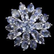 Крупное серебряное кольцо с натуральными танзанитами 16р
