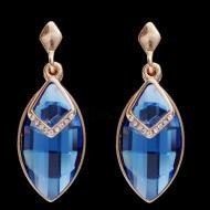 """Дизайнерские Серьги в позолоте с синими кристаллами """"Магический кристалл"""""""