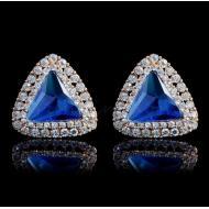 """Серьги-гвоздики в позолоте с синими кристаллами """"Триангл"""""""