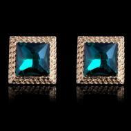 """Серьги в позолоте с голубыми кристаллами """"Ромбы"""""""