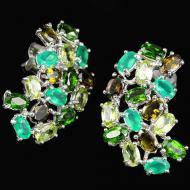 """Серебряные серьги с зелеными драгоценными камнями """"Аризона"""""""
