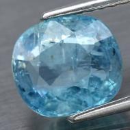 1.63Ct Аквамарин насыщенного голубого цвета 7.8*7мм подушка (Видео, сертификат)