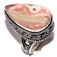 Серебряное кольцо (перстень) с родохрозитом 17р
