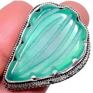 Серебряное кольцо с резным зеленым ониксом 18.5р