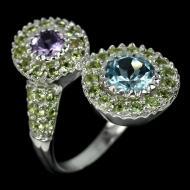 Серебряное кольцо с топазом, аметистом и хризолитом 18р