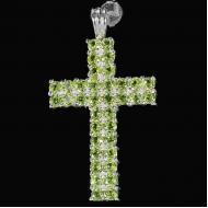 Крупный Серебряный кулон крестик с хризолитом (перидотом)