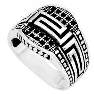 Мужское кольцо из серебра с черным ониксом 19.5р