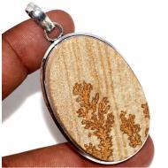 Серебряный кулон с псиломеланом (дендрит)