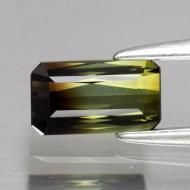 0.63CT Двухцветный зеленый турмалин 6.5*3.7мм (октагон) Видео