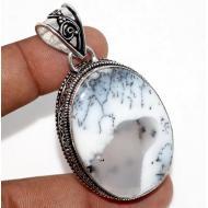 Серебряная подвеска в винтажном стиле с мерлинитом (дендрическим опалом)