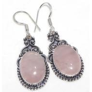 Серебряные серьги подвески с розовым кварцем