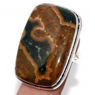 Серебряное кольцо с океанической яшмой 17.5р