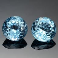 4.8Ct Натуральный голубой топаз 8мм круг (пара)