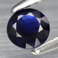 0.34Ct Натуральный насыщенный синий сапфир класса АА++ 4.2мм круг (Видео)