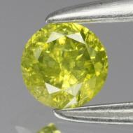 0.15Ct Натуральный желто-зеленый бриллиант 3.3мм с Сертификатом (Fancy Yellow Green) Видео