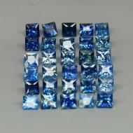 0.16Ct Натуральный синий сапфир квадрат 2.5мм (цена за 1 шт)
