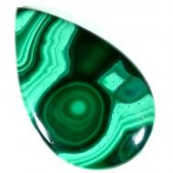 44.75Ct Крупный Малахит натуральный 39*24мм из Конго (груша кабошон)