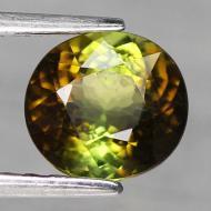 1.47CT Двухцветный зеленый турмалин 7.1*6.6мм (овал) Сертификат