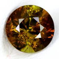 1.12CT Двухцветный зелено-коричневый турмалин 6.5мм (круг)