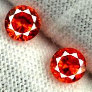 0.57Ct Пара Оранжево-красных Падпараджа сапфиров 3.45мм