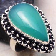 Серебряное кольцо с зеленым ониксом 18р