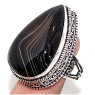 Винтажное Серебряное кольцо с натуральным Ботсванским агатом 19.5р