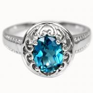 Серебряное кольцо с крупным Лондон топазом 19.5р