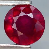 1.94Ct Натуральный насыщенный красный рубин 6.8мм круг (Видео)
