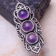 Exclusive! Крупное кольцо с аметистом в винтажном стиле 17.5р