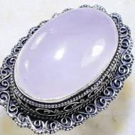 Огромное винтажное кольцо с розовым кварцем 20р