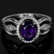 Серебряное кольцо с натуральным аметистом 18р