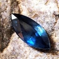 0.67Ct Натуральный синий сапфир 7.95*3.57мм маркиз (Видео)