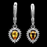 Серебряные серьги подвески с натуральными желтыми сапфирами