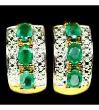 Класические серебряные серьги с бразильскими изумрудами