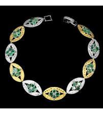 Серебряный браслет с натуральными изумрудами