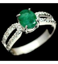 Классика! Серебряное кольцо с натуральным изумрудом 18.5р