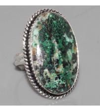 Серебряное кольцо с натуральной хризоколлой 18.5р