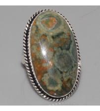 Серебряное кольцо с натуральным риолитом 18р