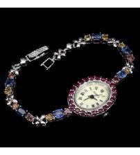 Серебряные часы с рубинами, сапфирами и перламутром