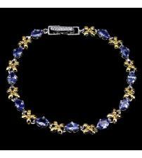 Серебряный браслет с натуральными танзанитами