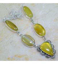 Серебряное ожерелье с желтым агатом
