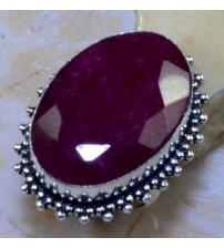 Серебряное кольцо с индийским рубином (корундом) 18р