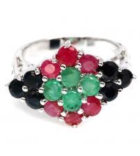 Серебряное кольцо с изумрудом, рубином, сапфиром 17.5р