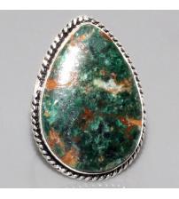 Серебряное кольцо с натуральной хризоколлой 19р