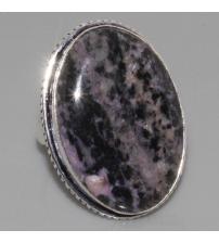 Серебряное кольцо с натуральным чароитом 18р