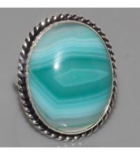 Серебряное кольцо с полосатым ониксом 17.5р