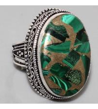 Винтажное Серебряное кольцо с Малахитом в Пирите 18р