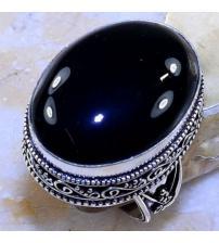 Винтажное серебряное кольцо с черным ониксом 18.5р
