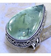 Винтажное серебряное кольцо с натуральным пренитом 18р