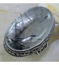 Винтажное серебряное кольцо с черным рутиловым кварцем